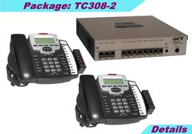 KSU (3 external lines and 8 stations) with 2 TC-125-K speaker phones, caller ID, 4-hours voice mail, 2 years KSU warranty.
