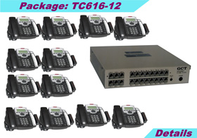 KSU (6 external lines and 16 stations) with 12 TC-125-K speaker phones, caller ID, 8-hours voice mail, 10 years KSU warranty.