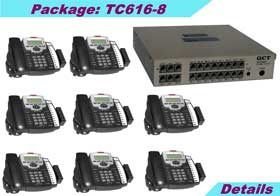 KSU (6 external lines and 16 stations) with 8 TC-125-K speaker phones, caller ID, 8-hours voice mail, 5 years KSU warranty.